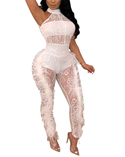 Sexy Halter Jumpsuit for Womens - See Through Lace Patchwork Hollow Floral Side Feather Bodycon Romper Clubwear White ()