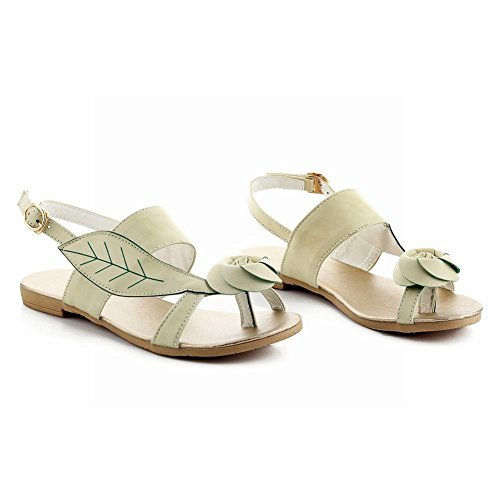 Carol Shoes Casual Womens Buckle Rose-shaped Decorations Comfort Thong Flats Sandals Light Green 2Wq1LQ