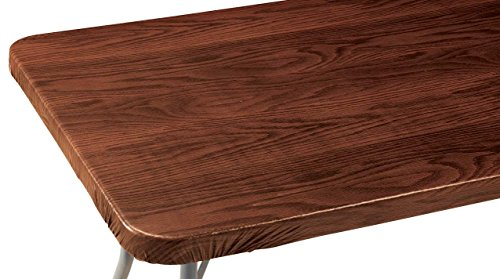 Wood Grain Vinyl Elasticized Banquet Table Cover Patio