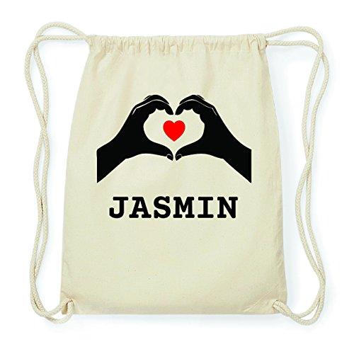 JOllify JASMIN Hipster Turnbeutel Tasche Rucksack aus Baumwolle - Farbe: natur Design: Hände Herz