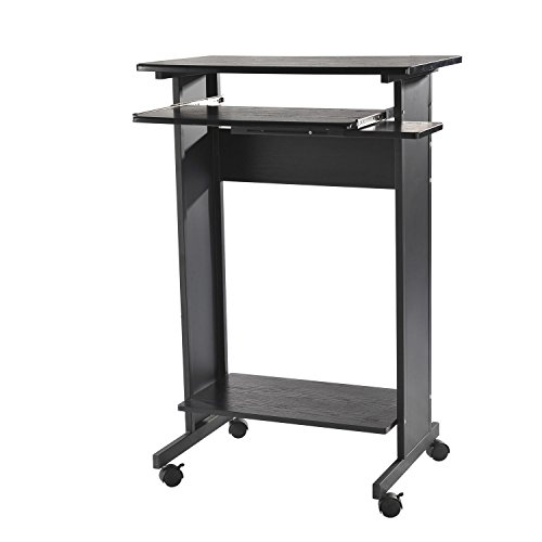 HOMCOM 30'' Mobile Standing Workstation Computer Laptop Desk on Wheels by HOMCOM
