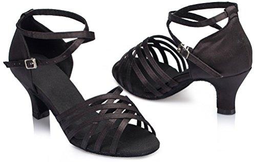 para profesional zapatos tango salón baile CFP medio latino L124 tacón mujer de YYC baile negros de ExBqU