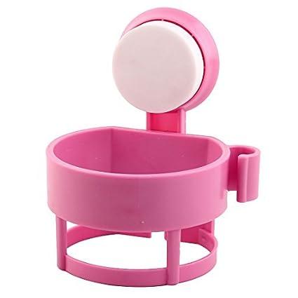 Rosa Shelf Ventosa Secador de cabelo DealMux plástico Início Banho Quarto rack Titular Armazenamento
