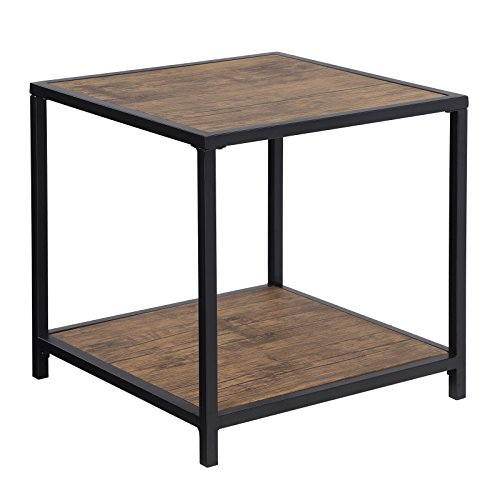 SONGMICS Rustic End Table, 2-Tier Side Table with Storage Sh