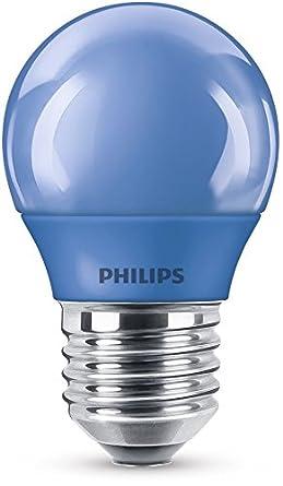 Philips Bombilla LED E27, luz blanca, 3.1 W, azul