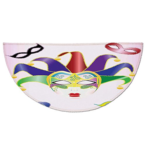 Jester Half Mask - Half Round Door Mat Entrance Rug Floor Mats,Masquerade,Abstract Style Illustration of Christmas Carnival Masks Jester Design Print,Multicolor,Garage Entry Carpet Decor for House Patio Grass Water
