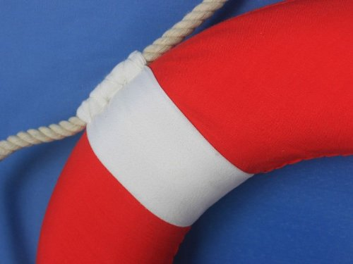 Hampton Nautical Decorative Vibrant Red Lifering with White Bands, 15 inches by Hampton Nautical (Image #2)