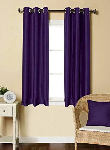 LUSHOMES Purple Dupion Silk Curtain with 6 Plastic Eyelets (Pack of 2 pcs) for Windows