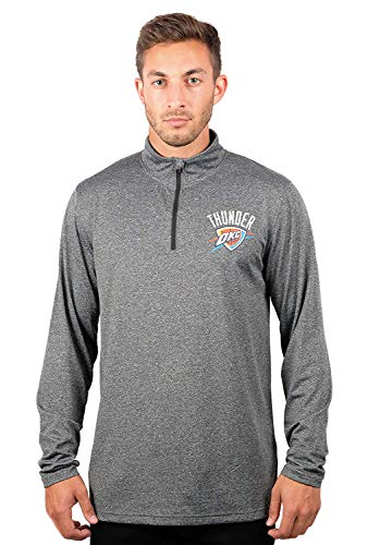 NBA Oklahoma City Thunder Men's Quarter Zip Pullover Shirt Athletic Quick Dry Tee, XX-Large, Charcoal