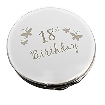 18th Birthday Gifts For Girls Round Makeup Compact Mirror With Engraved Butterflies Age 18 Daughter Girl
