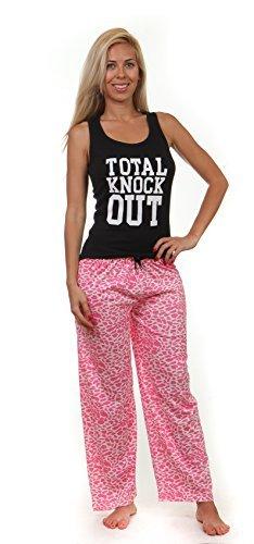 EMME Jordan Mujer 2 Piezas Pijama, rosa y blanco, tamaño grande Leopard [Apparel
