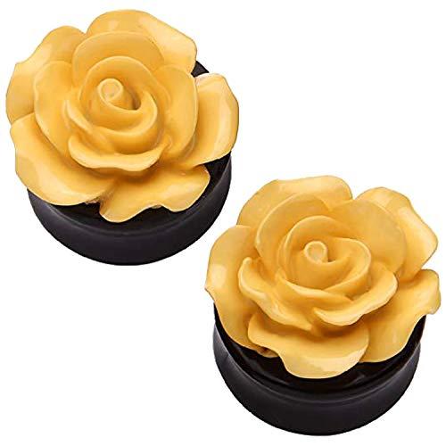 BodyJ4You 00 Gauge Acrylic Cream Flower Floral Saddle Plugs