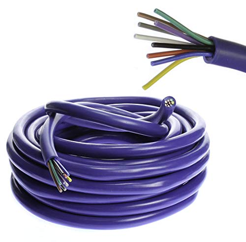 VOODOO 18 AWG Gauge 9 Conductor Speed Blue Wire Speaker Trailer Copper Stranded (20 FT) (Multi Strand Wire)