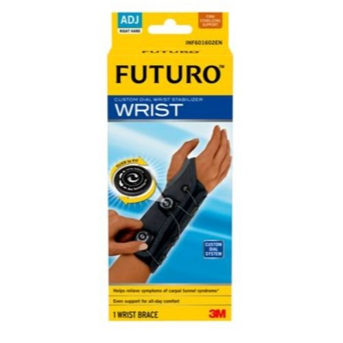 3M Health Care 601602EN FUTURO Custom Dial Wrist Stabilizer, Right Hand, Adjustable, Black (Pack of 12)