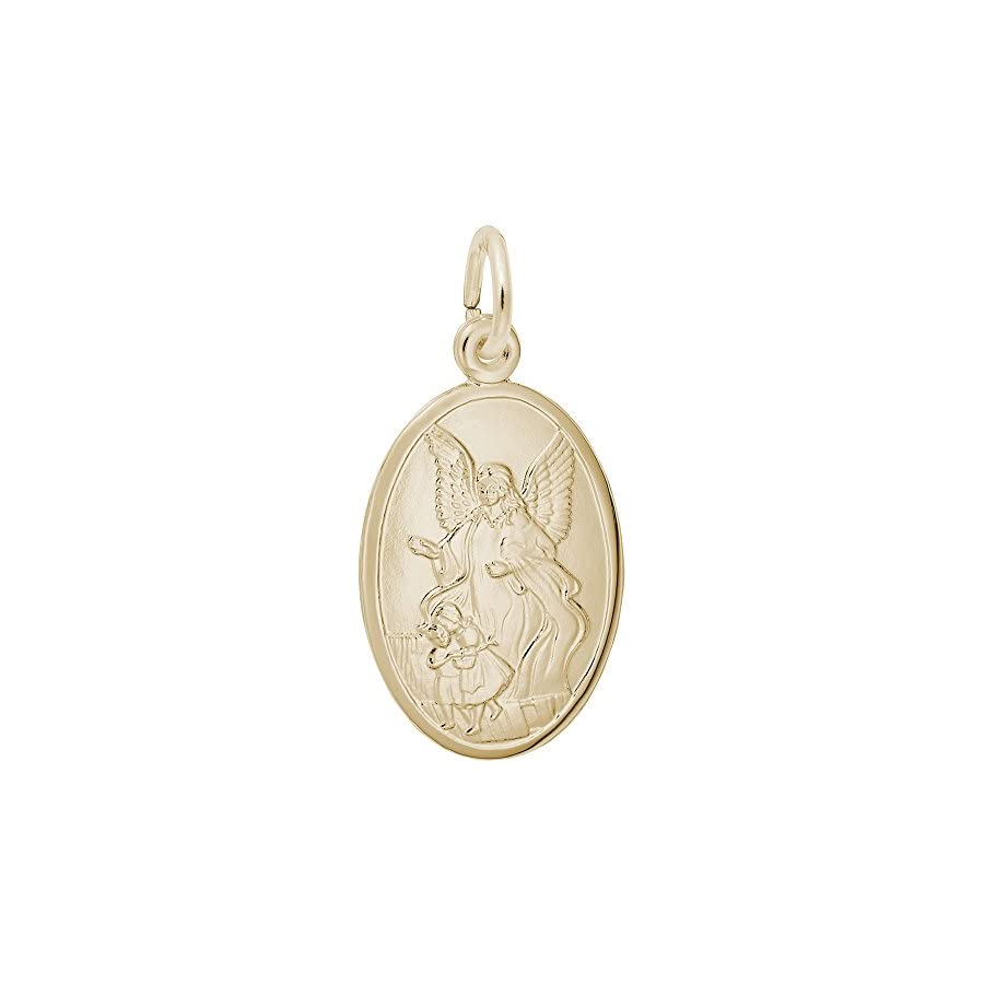 10k Yellow Gold Guardian Angel Charm, Charms for Bracelets and Necklaces