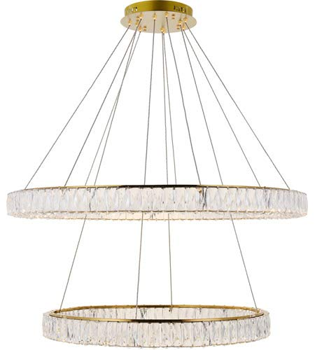 Elegant Lighting Monroe Integrated LED Light Gold Chandelier Clear Royal Cut Crystal