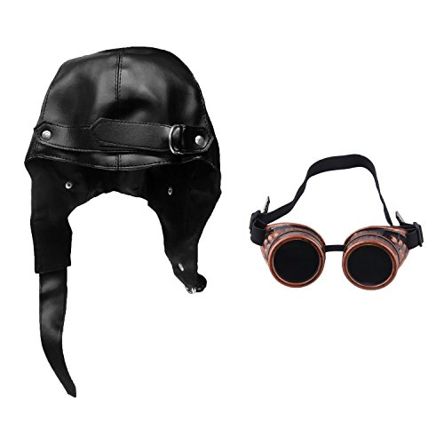 Faux Leather Aviator Black Steampunk Bomber Pilot Hat & Copper Steampunk (Replica Big Pilot)