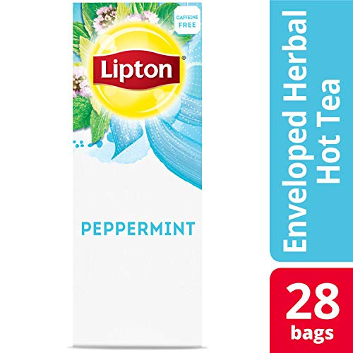 Lipton Peppermint Enveloped Hot Tea Bags Herbal Caffeine Free, 28 count, Pack of 6