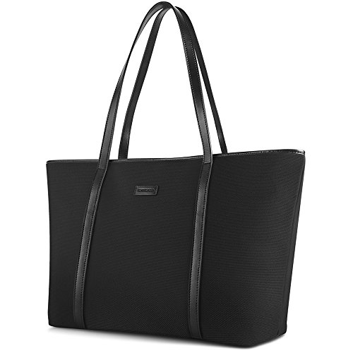 CHICECO 14-Inch Nylon Tote Bag Work Handbag for Files Laptops - Black Classic Top Zip Shoulder Bag