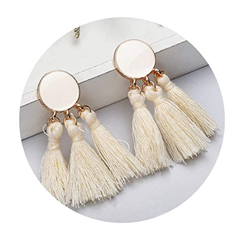 Bohemia Statement Tassel Earrings Gold Color Round Drop Earrings for Women Wedding Long Fringed -