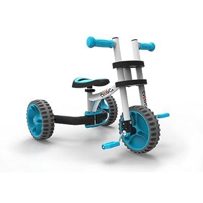 YBIKE Evolve Bike Ride On, White/Blue: Sports & Outdoors
