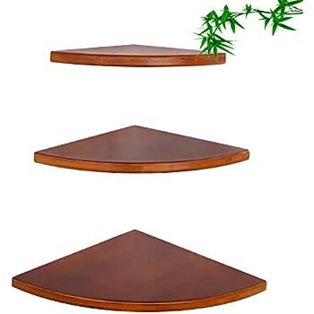 Corner Shelves Set of 3(11.8inch,9.8 inch,7.8 inch),Radial Round Edging Bamboo Storage Shelf Organizer Corner for Bedroom,Living Room,Bathroom,Kitchen,Office Any Corner (Walnut Color)