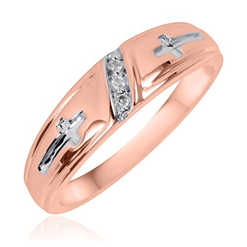 1/25 CT. T.W. Diamond Men's Wedding Ring 10K Rose Gold- Size 12.75