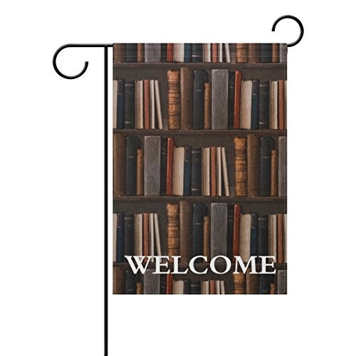 (TropicalLife Welcome Knowledge Old Library Books Bookshelf Polyester Garden Flag Banner 12 x 18 Inch Double Side Print Home Outdoor Patio Yard Garden Decor Flag)