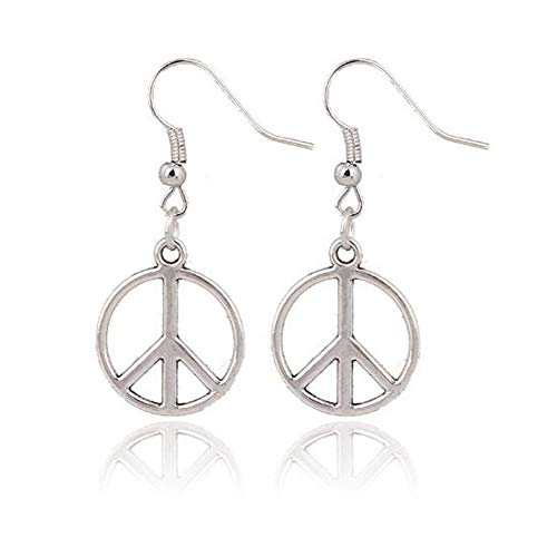 Simple Large Peace Sign Earrings , Silver Peace Earrings , Silver Earrings , CND Earrings , Retro Jewellery , Handmade Jewelry , Hippie -