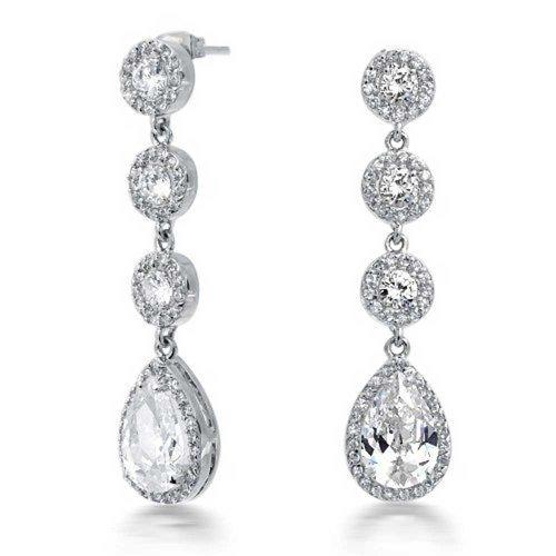 Bling Jewelry Crown Set CZ Teardrop Chandelier Earrings Rhodium (Cz Costumes Jewelry)