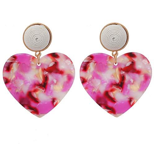 - MOOCHI Pink Acrylic Love Heart Shape Resin Bohemia Hoop Dangle Earrings