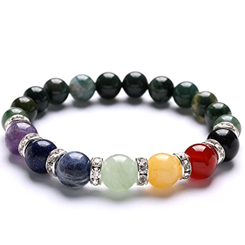TGS Gems Beautiful Energy Power Crystal Elastic Stretch Beaded Chakra Gemstone Reiki Healing Bracelet 7 Chakra Mixed Combination (Yellow Jade Beaded Bracelet)