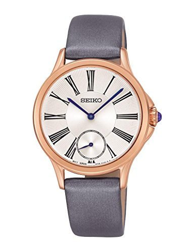 Seiko SRKZ54P1 White Dial Gray Leather Strap Women's Analog Quartz Watch