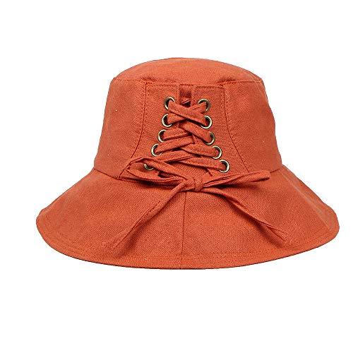 Benficial Womens Spring and Summer Hat Foldable Wide Brim Floppy Cap Fisherman Sun Hat Adjustable Bandage Cap Orange ()
