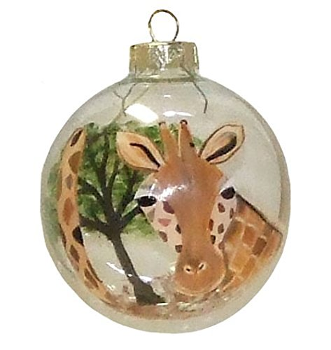 (Giraffe Ornament. Hand Painted on Clear Glass Ball)