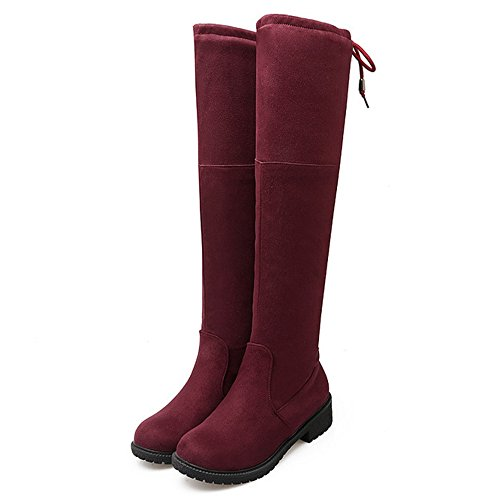 COOLCEPT Damen Mode-Even Fransen Runde Zehe Flach über kniehohe Stiefel Rot