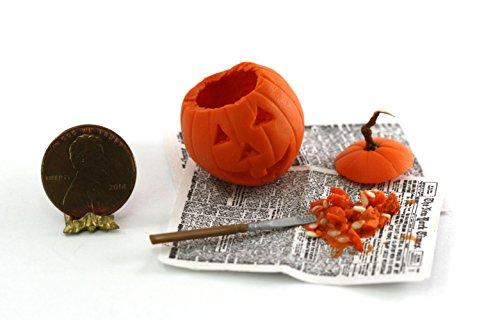 Dollhouse Miniature Halloween Pumpkin Carving in Progress by