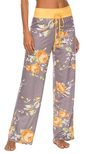 LOCUBE Women's Casual Floral Print Wide Leg Palazzo Lounge Pants Drawstring Long Pajama Pants Trousers (Yellow, Small)