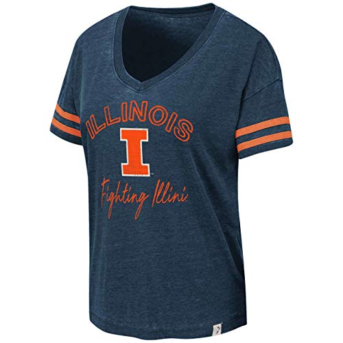 (Colosseum Illinois Fighting Illini Womens Savona V-Neck T-Shirt - Navy, Womens Extra Large)