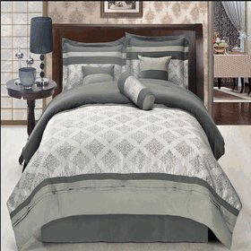 """THOMASVILLE GRAY QUEEN SIZE 11PIECE BED IN A BAG INCLUDES: 1 COMFORTER, 1 BED SKIRT, 2 STANDARD PILLO SHAMS, 1 CUSHION, 1 BREAKFAST PILLOW, 1 NECK ROLL, 1 FLAT SHEET. 1 FITTED SHEET FIT MATTRESS UP TO 16"""" DEEP AND 2 STANDARD PILLOWCASES"""