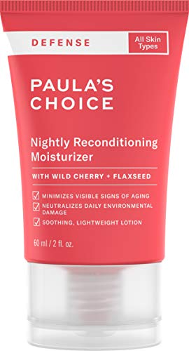 - Paula's Choice-DEFENSE Nightly Reconditioning Moisturizer w/Wild Cherry, Flaxseed, neem, Sunflower Seed & Marula Oil, Arugula & Algae Extract, Anti-Pollution Night Cream for All Skin Types, 2 Oz Tube