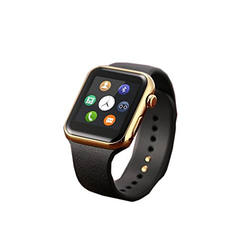 (DXNSPF Smart Watch Intelligent Bluetooth Fully Compatible Heart Rate Health Testing Information Push New Fashion Wristband, Gold)