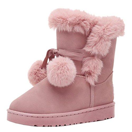 Binying Women's Round-Toe Bowknot Flat Slip-on Fur Snow Boots Pink sxxLZ1