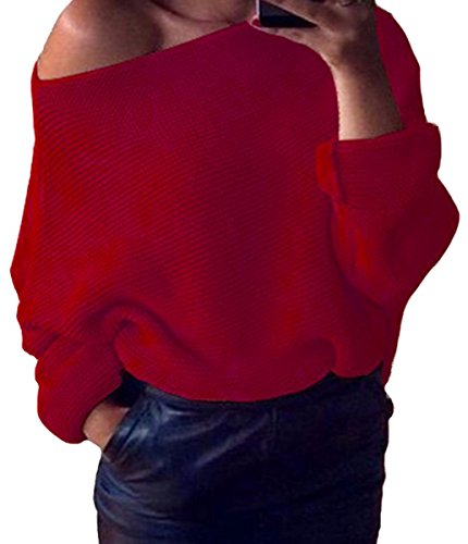 Autunno Senza Spalline Maglione Inverno Ragazze Manica Rosso Lunga Elegante Maglioni Pullover Zkoo Oversized Maglieria Donne Maglia YwOnB0