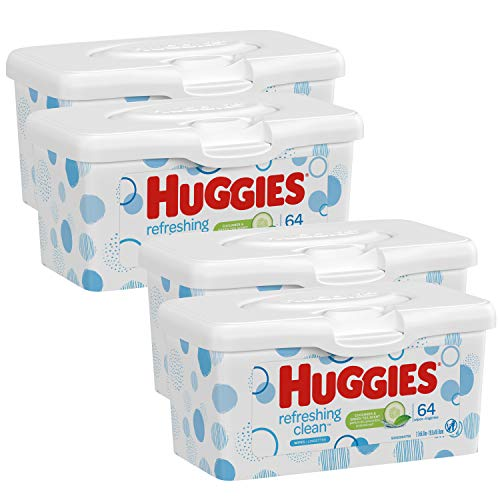 Huggies Refreshing Clean Scented Baby Wipes, Hypoallergenic, Refillable Pop-up Tub, 4 Tubs of 64 Wipes, 4 Count, Size 1