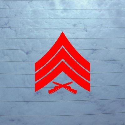 cybersavs Laptop Red Vinyl Sticker Notebook Art Window Car Usmc E 5 Sergeant Rank Insignia Die Cut Auto Wall Bike Adhesive Vinyl Home Decor