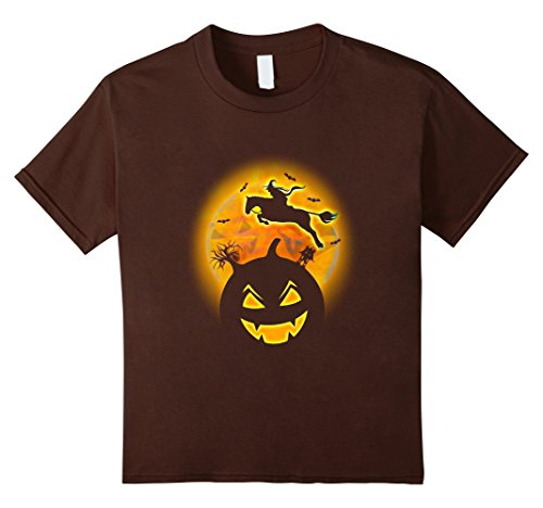 Kids Witch Riding Horse, Pumpkin, Halloween Night Tshirt 12 Brown