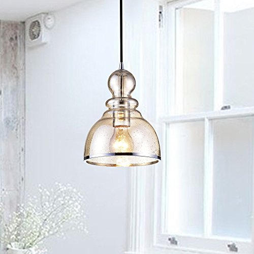 Jojospring Alita Antique Black Mini Pendant with Cognac Bubble Glass and Chrome Edge - Edge Mini Pendant