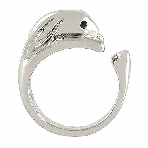 Ellenviva Enhanced Bunny Rabbit Animal Wrap Ring White Gold-Plated Shiny Silver Tone- Size 8 ()