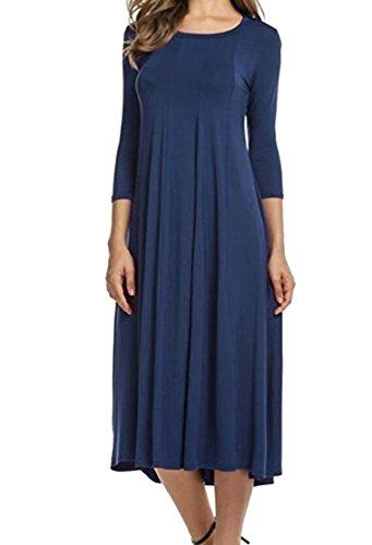 Dresses Maxi Long Solid Women O Sleeve Cotton Neck Jaycargogo 1 Color g1wfq